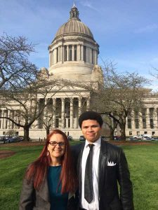 Ah and Miles in front of the Washington state capitol building in Olympia